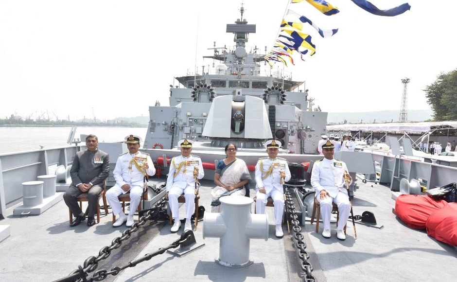 The ship hosts a predominantly indigenous cutting-edge weapons and sensors suite which includes heavyweight torpedoes, ASW rockets, 76 mm calibre Medium Range gun and two multi-barrel 30 mm guns as close-in-weapon system (CIWS) with dedicated fire control systems, missile decoy rockets (Chaff), most advanced bow-mounted sonarand air surveillance radar Revathi. Image courtesy: Twitter/@indiannavy