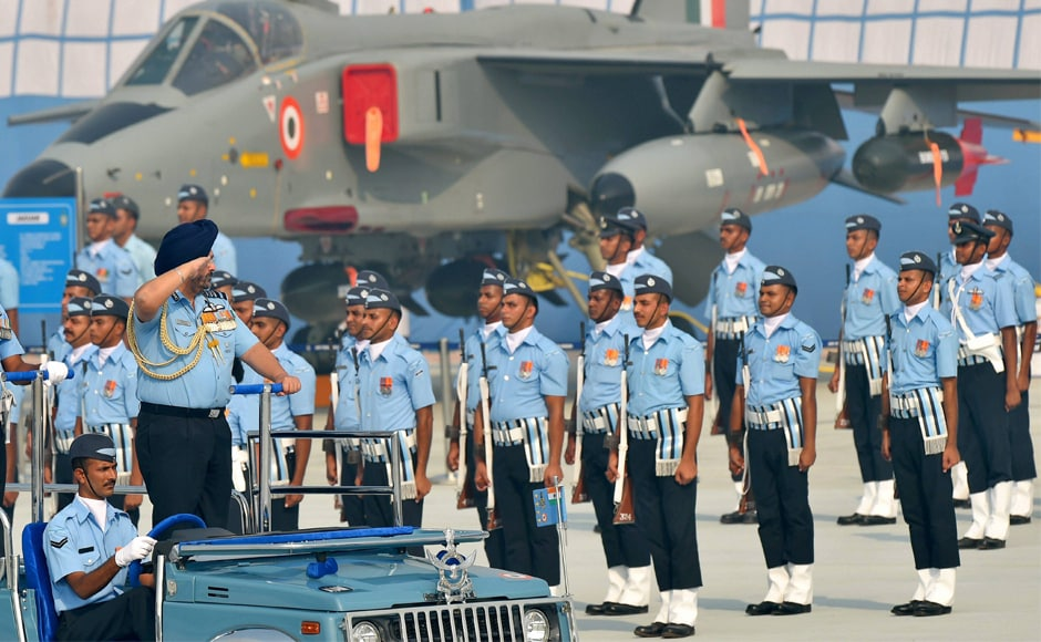 Air Chief Marshal BS Dhanoa inspects guard of honour during the 85th Air Force Day parade. PTI