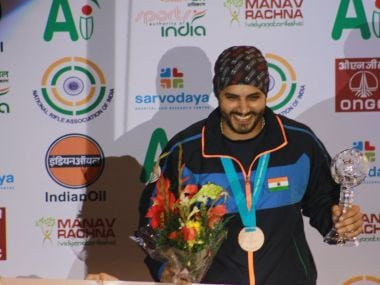 Amanpreet Singh clinched a bronze medal in his maiden appearance in an ISSF World Cup Final. Image courtesy: Twitter @NRAIofficial