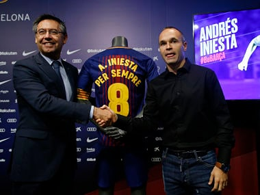 "Barcelona has extended Andres Iniesta's contract ""for life."" AP"