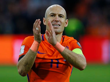 Netherland's Arjen Robben applaudes to supporters at the end of the match with Sweden. AP