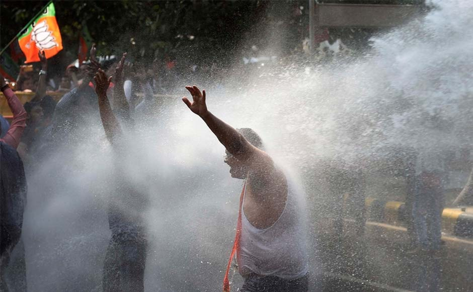 Delhi Police used water cannons to disperse crowds at the Bharatiya Janata Party (BJP) rally in New Delhi. PTI