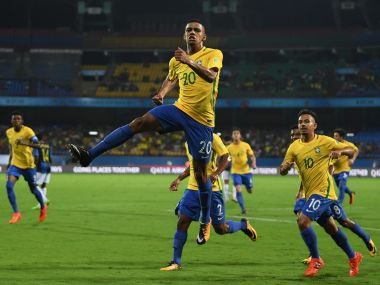 Brenner celebrates after opening the scoring for Brazil during the FIFA U-17 World Cup Round of 16 match against Honduras. Getty