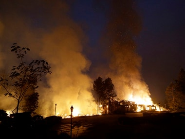 File image of smoke and flames from fire at the Hilton Sonoma Wine Country hotel in Santa Rosa, in California. AP