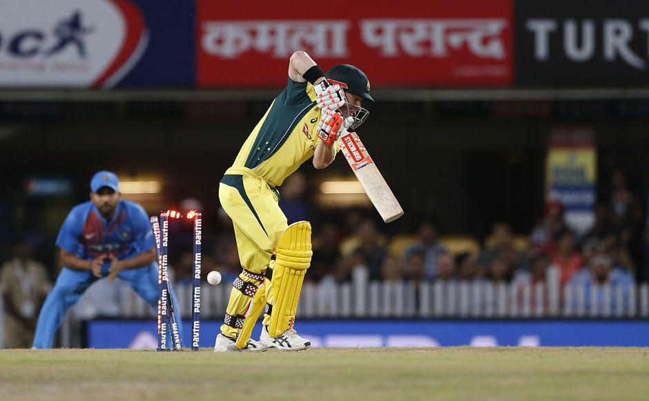 After conceding two consecutive boundaries to Australia stand-in captain David Warner, Bhuvneshwar Kumar responded by going through his defence. AP