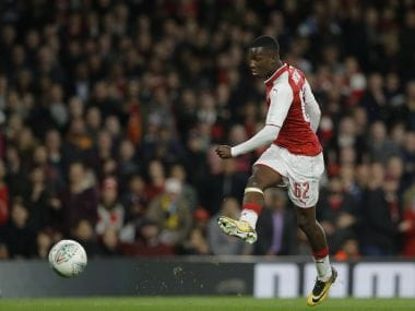 Arsenal's Eddie Nketiah takes a shot on goal against Norwich on Tuesday. AP