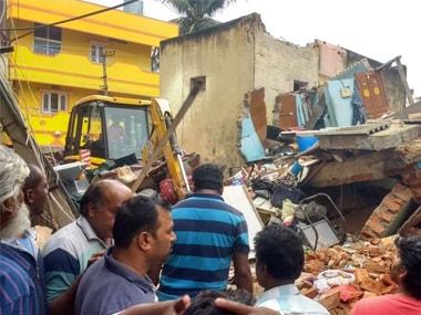 The collapsed building in Ejipura, Bengaluru. Twitter @ANI