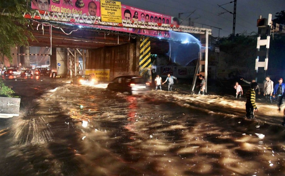 Heavy rains battered Hyderabad this week, leading to waterlogging and traffic jams across the city. Three people have been killed in rain related incidents. PTI