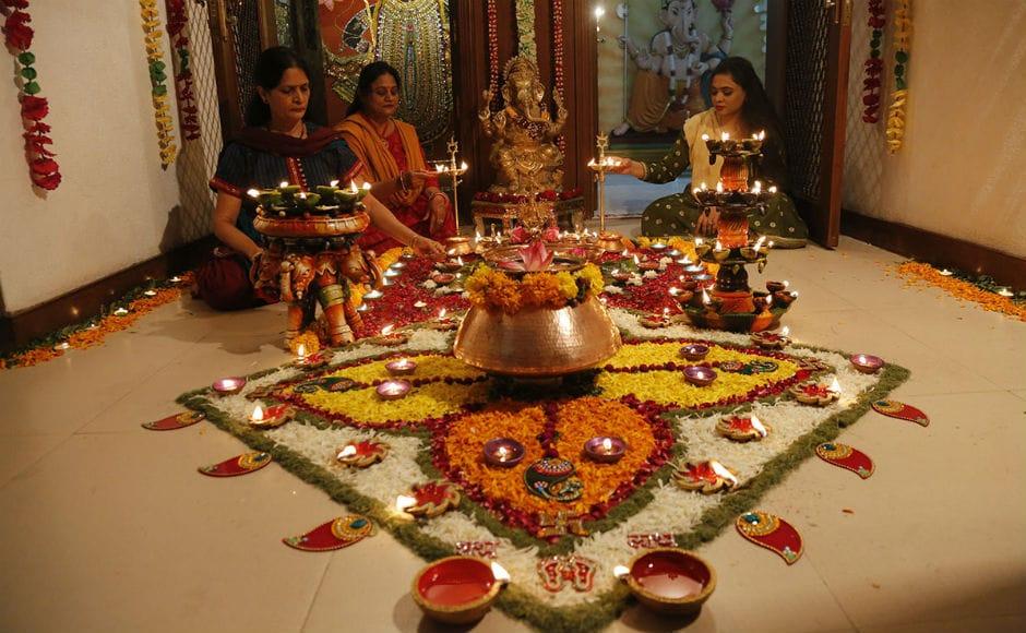 Diwali celebrates the return of Lord Rama to Ayodhya from his 14-year exile after vanquishing demon-king Ravana. AP