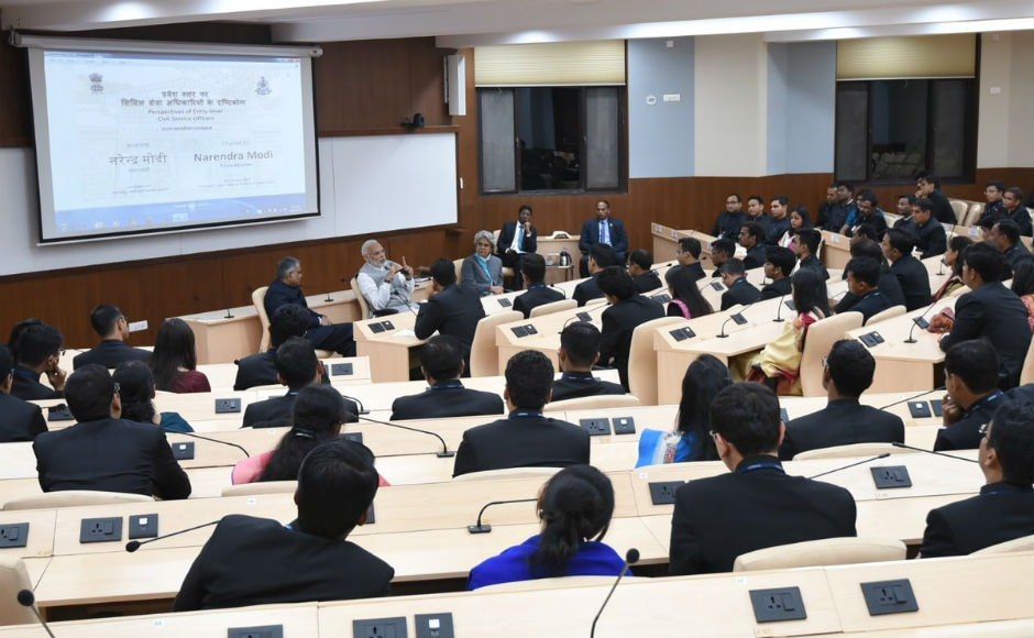 On Thursday, too, he had held a interactive session with the trainees which lasted for nearly four hours. He urged the officer trainees to express their ideas and thoughts frankly and fearlessly. Twitter/@PMOIndia