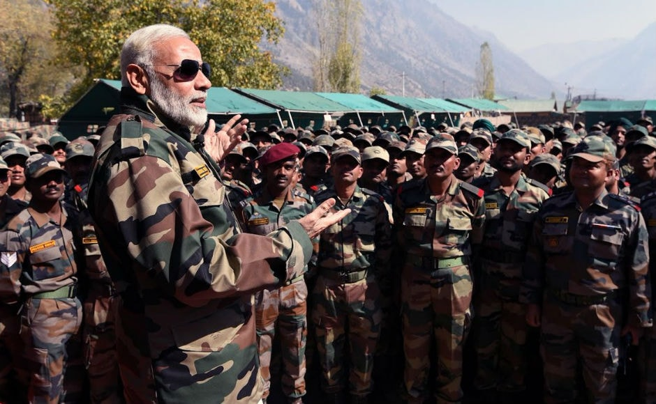 Modi said he gets new energy when he spends time among the jawans and soldiers of the armed forces and appreciated their penance and sacrifice, amid harsh conditions. Twitter @narendramodi