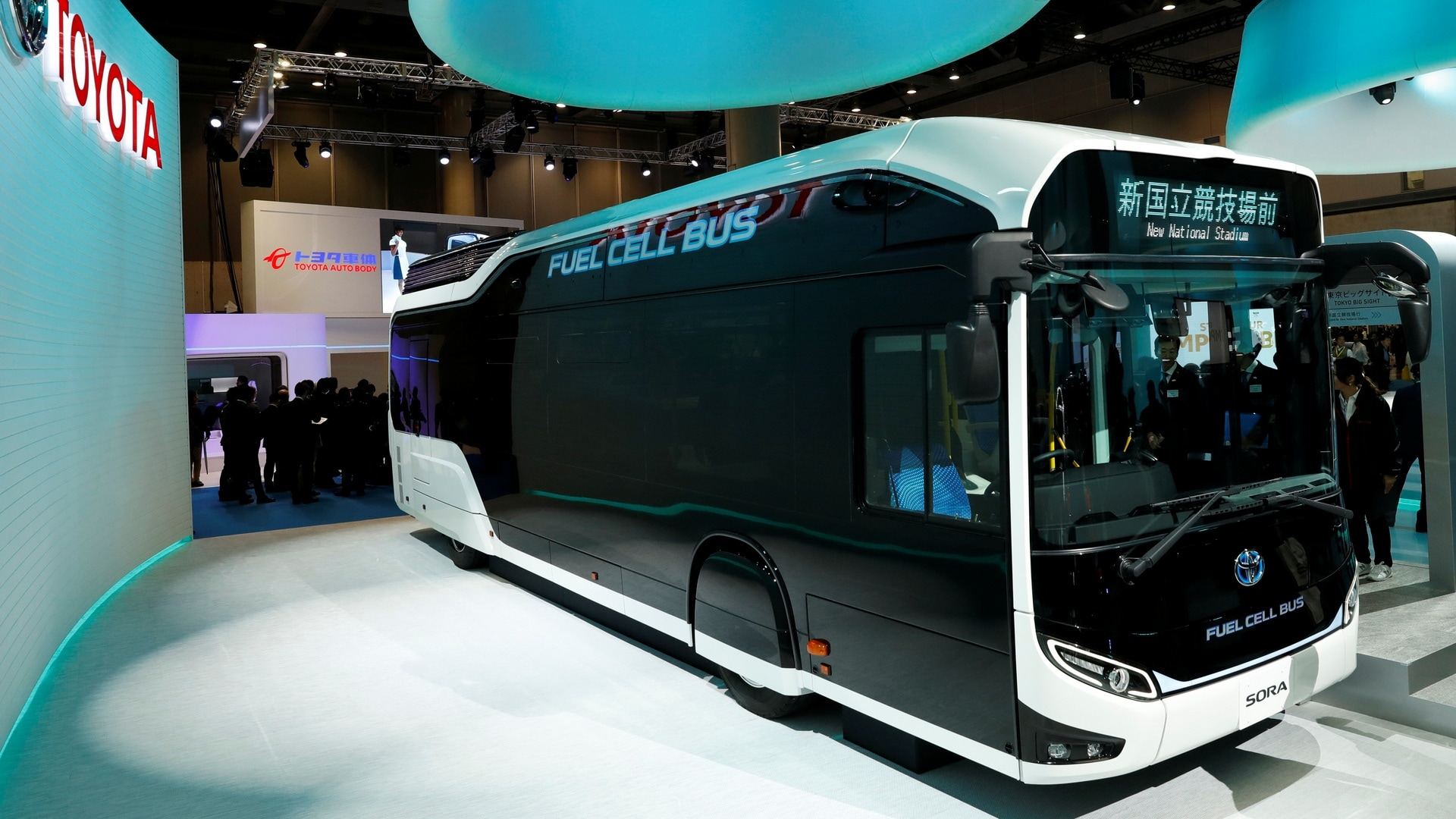 Fuel cell bus Sora is displayed by Toyota during media preview of the 45th Tokyo Motor Show in Japan on October 25, 2017. Reuters