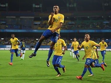 Brenner of Brazil celebrates after opening the scoring against Honduras. Getty Images