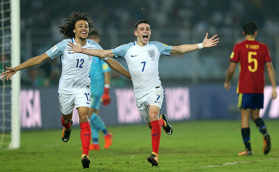 Phil Foden scored his second of the night as he combined once again with Hudson-Odoi to score England's fifth of the night. Getty