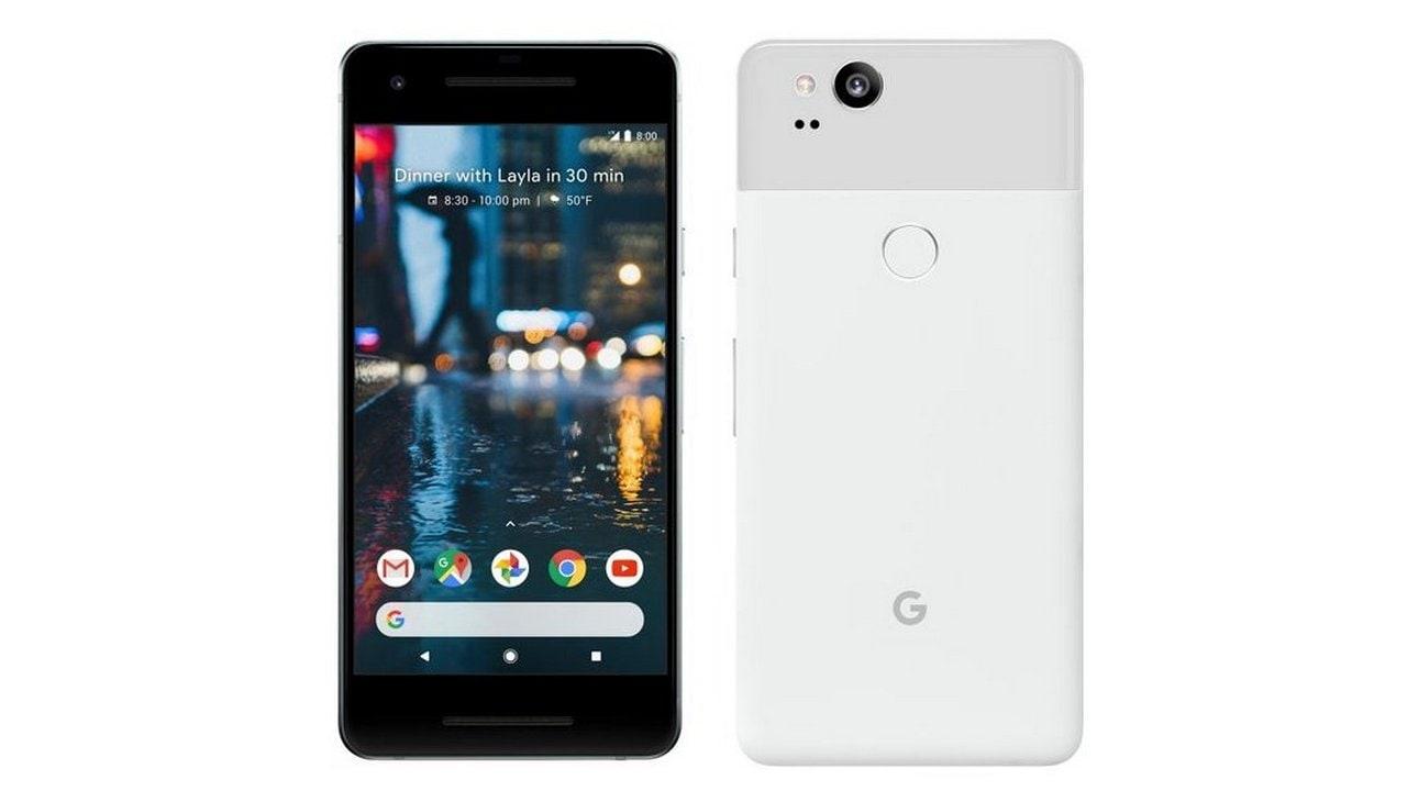 The Google Pixel 2 in white. Image: Twitter/@evleaks