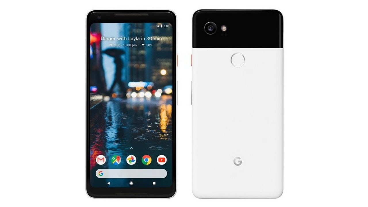 The Google Pixel 2 XL in white. Image: Twitter/@evleaks