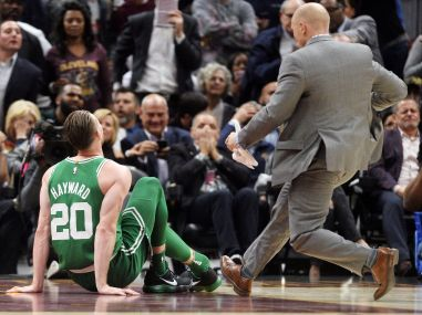 Gordon Hayward sits on the court after injuring his ankle against the Cleveland Cavaliers. Reuters