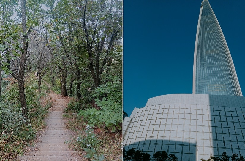 (L) Gungdong Park; (R) Lotte Tower