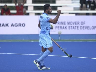 Harmanpreet Singh made the score line 5-1 in favour of India, scoring with a fine variation from their third penalty corner. Twitter @TheHockeyIndia