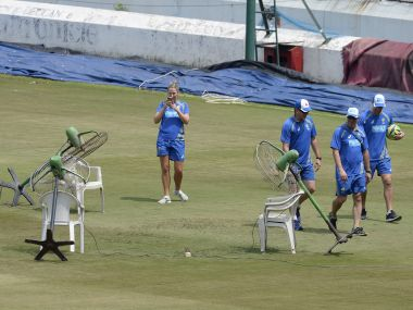 Fans were used to dry wet outfield in Hyderabad but to no avail as the final T20I between India and Australia had to be abandoned. AFP