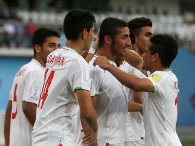 Iran players celebrate scoring against Mexico on Tuesday. Getty Images
