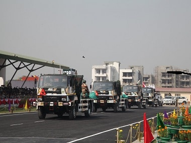 Newly acquired ITBP military trucks at the Raising Day celebrations. Twitter @ITBP_official