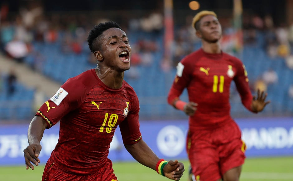 In the other Group A encounter, Ghana took on Colombia in their opening match. Ghana won 1-0 courtesy a goal from Sadiq Ibrahim (R) who is seen celebrating here. AP