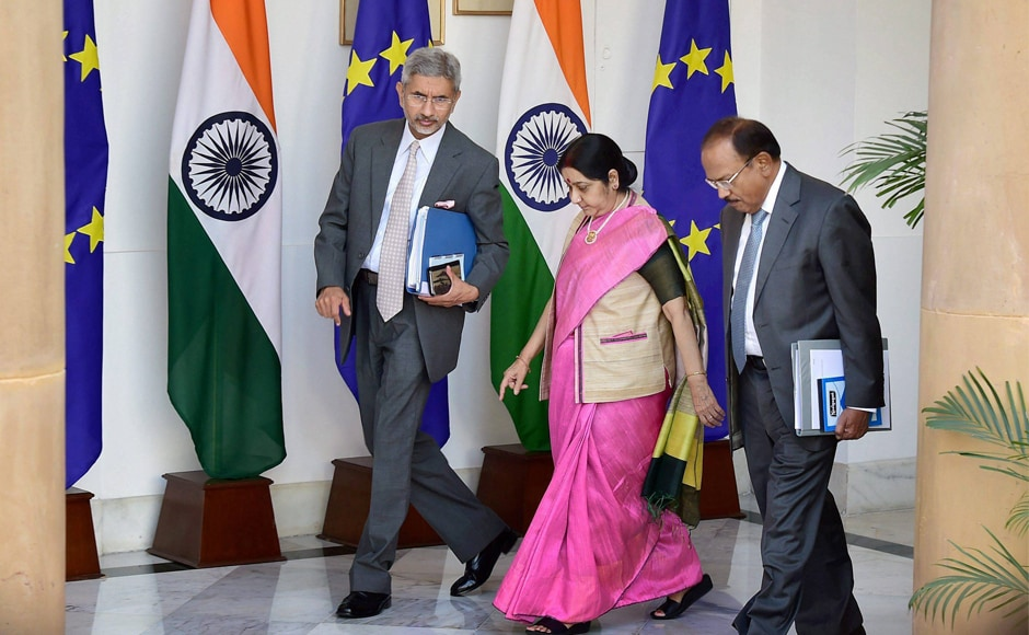 External affairs minister Sushma Swaraj, NSA Ajit Doval and Foreign Secretary S Jaishankar at the India-EU Summit at Hyderabad House in New Delhi on Friday. PTI