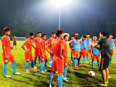 India U-17 football team during a training session ahead of the game against Colombia. Image courtesy: Twitter @IndianFootball