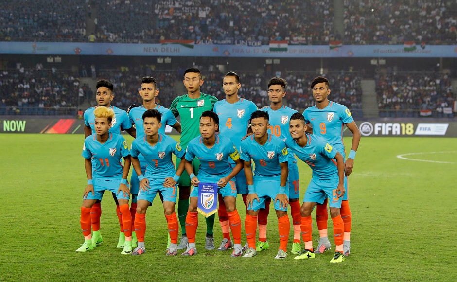 The Indian football team poses for a group photograph before the start of their FIFA U-17 World Cup match against the US in New Delhi on Friday. This was the first time an Indian team was participating in the global event. AP