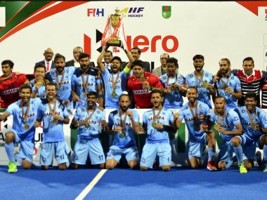 India hockey team celebrate after winning the Hockey Asia Cup 2017 in Dhaka. Twityter/@HockeyIndia