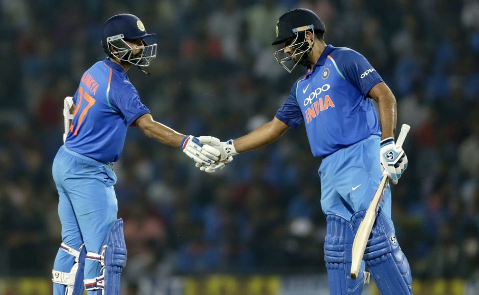 Chasing 243, Rohit Sharma and Ajinkya Rahane provided another strong start for the hosts. They added 124 runs for the opening wicket, their third-successive century stand in this series. AP