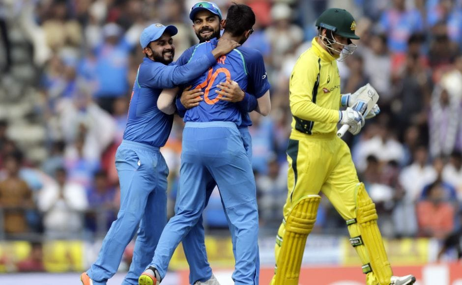 After Warner holed out to long on off Axar Patel, two overs later, the visitors were in serious trouble when Patel also snapped up Peter Handscomb (R) who was out sweeping with Ajinkya Rahane running back from slip to complete the catch. AP