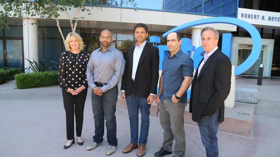 Intel data center chief Diane Bryant, with Nervana Co-Founders Naveen Rao, Arjun Bansal, Amit Khosrowshahi, and Intel VP Jason Waxman. Image credit: Intel