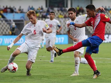 Iran and Costa Rica players in action during their FIFA U-17 World Cup match. Image Courtesy: Twitter @FIFAcom