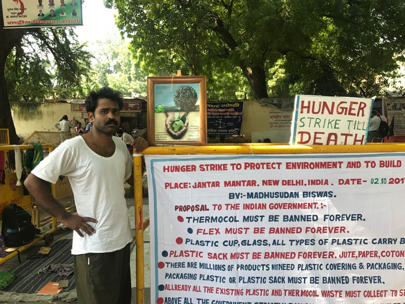 Madhusudan Biswas, a teacher from 24 Paraganas, West Bengal is on a hunger strike at Jantar Mantar, one of his demands is a blanket ban on plastic, thermocol and glass. Pallavi Rebbapragada/Firstpost