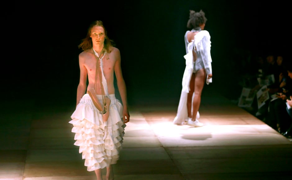 Meiko Ban's collection was characterised by the dominance of white as a colour, as well as frills. Image via AP