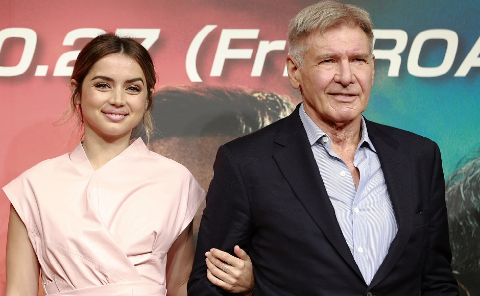 Actor Harrison Ford poses with actress Ana de Armas at a press conference to promote their latest film in Tokyo, Monday, 23 October, 2017. Picture courtesy: Shizuo Kambayashi/ AP