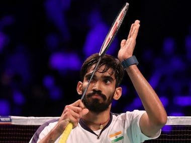 India's Kidambi Srikanth at the French Open Superseries. Image courtesy: Twitter @srikidambi