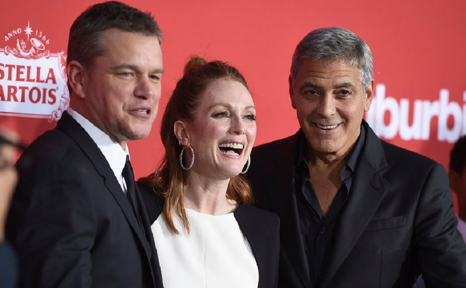 Matt Damon (from left), Julianne Moore and George Clooney at the LA premiere of Suburbicon. Photo by Jordan Strauss/Invision/AP