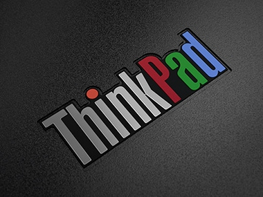 The new, more colourful logo on the ThinkPad 25