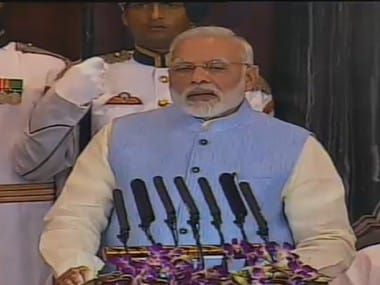 Prime Minister Narendra Modi at the launch of GST on 1 July 2017. PTI