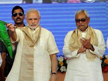 File image of Prime Minister Narendra Modi and Bihar chief minister Nitish Kumar. PTI