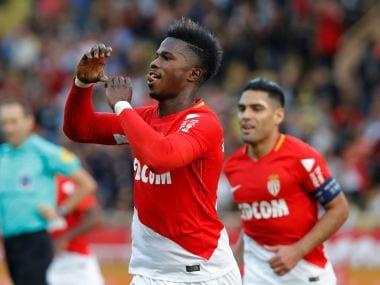 Monaco's Keita Balde Diao celebrates scoring their first goal with Radamel Falcao. Reuters