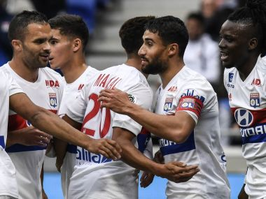 Nabil Fekir celebrating with his teammates during the clash with Metz. Image courtesy: Twitter @EuropaLeague