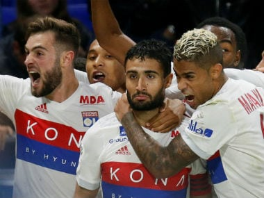 Lyon's Nabil Fekir celebrates scoring their third goal. Reuters