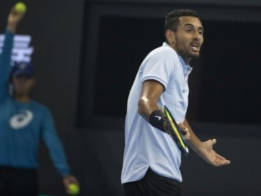 Nick Kyrgios of Australia reacts during the men's singles final match against Rafael Nadal of Spain for the China Open tennis tournament at the Diamond Court in Beijing, China, Sunday, Oct. 8, 2017. (AP Photo/Ng Han Guan)