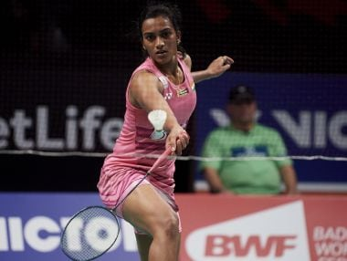 PV Sindhu of India in action. Getty
