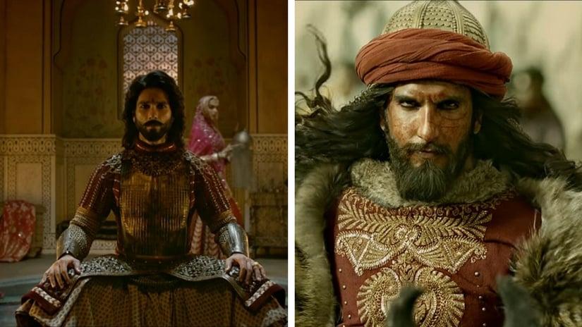 Shahid Kapoor as Rana Ratan Singh (left); Ranveer Singh as Alauddin Khulji (right) in Sanjay Leela Bhansali's Padmavati. Images via screen grabs from YouTube