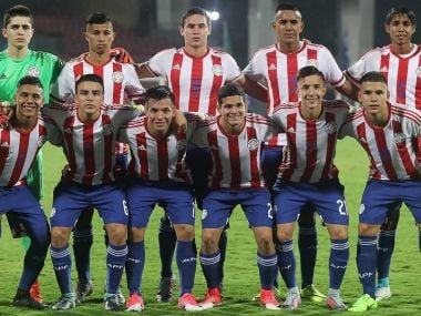 The Paraguay team line up for a photo during the FIFA U-17 World Cup India 2017. Getty